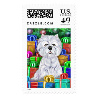 Westie Christmas Open Gifts Postage