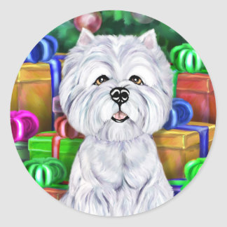 Westie Christmas Open Gifts Round Stickers