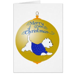 Westie Christmas Ornament Card