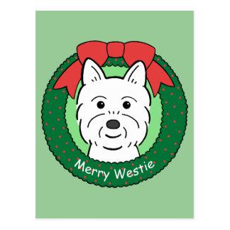 Westie Christmas Postcard