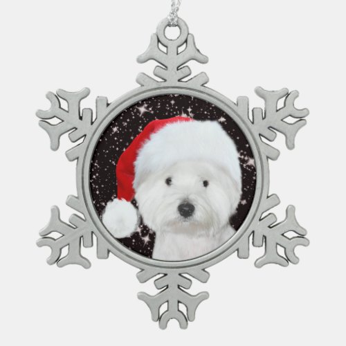Westie Christmas Snowflake Pewter Christmas Ornament