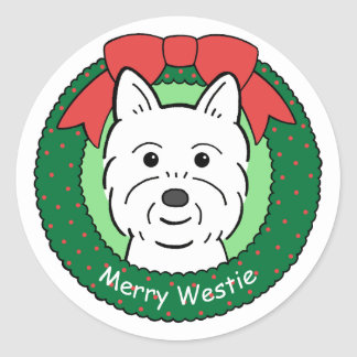 Westie Christmas Round Stickers