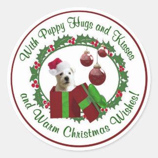 Westie Christmas Wishes Round Seals Classic Round Sticker