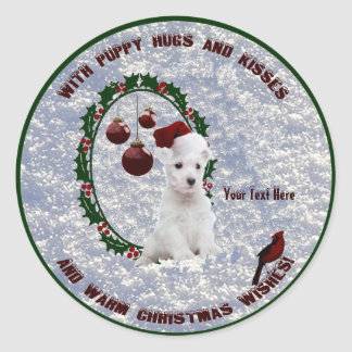 Westie Christmas Wishes Stickers – Customize Them!