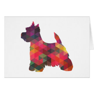 Westie Colorful Geometric Pattern Silhouette Card