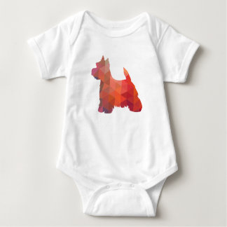 Westie Colorful Geometric Pattern Silhouette Dog Baby Bodysuit