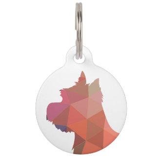 Westie Colorful Geometric Pattern Silhouette Dog Pet Tag