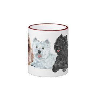 Westie con dos terrieres de mojón taza a dos colores