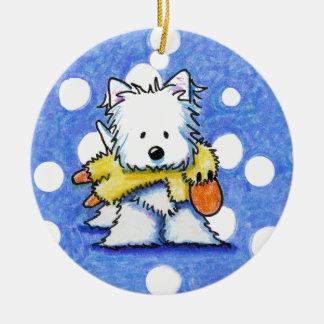 Westie con el ornamento del pato del juguete adorno navideño redondo de cerámica