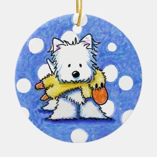 Westie con el ornamento del pato del juguete adorno redondo de cerámica