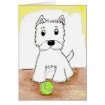 Westie con la tarjeta de felicitaciones de la bola