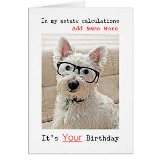 Westie con los vidrios, feliz cumpleaños, añade tarjeta de felicitación