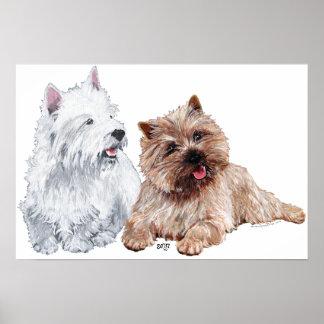 Westie con un mojón Terrier de Brown Poster