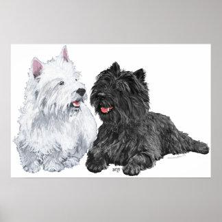 Westie con un mojón Terrier del negro Poster