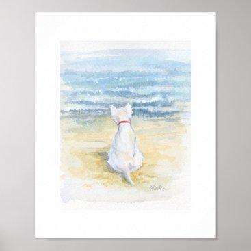 "Beach Themed Westie Contemplation, 8"" x 10"" print"