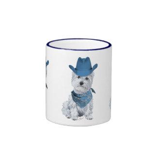 Westie Cowboy in Blue Mug