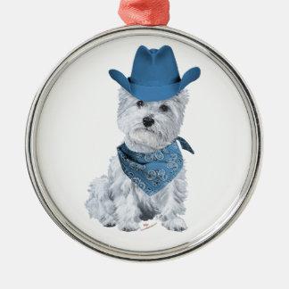 Westie Cowboy in Blue Christmas Tree Ornaments