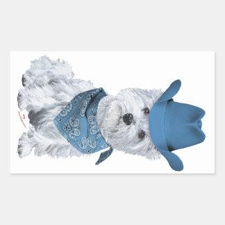 Westie Cowboy in Blue Sticker