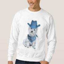 Westie Cowboy in Blue Sweatshirt