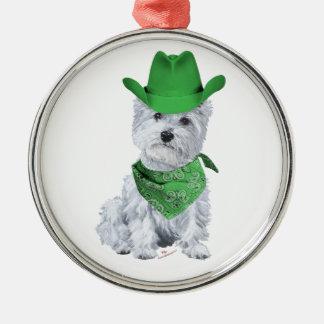 Westie Cowboy in Green Ornament