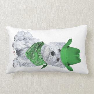 Westie Cowboy in Green Throw Pillow