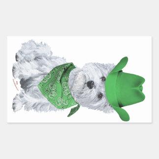 Westie Cowboy in Green Rectangular Stickers
