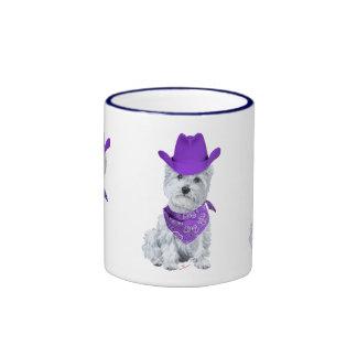 Westie Cowboy in Purple Coffee Mugs