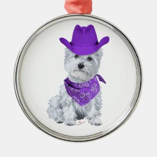 Westie Cowboy in Purple Ornament