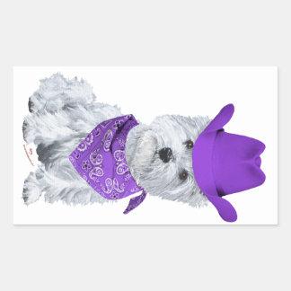 Westie Cowboy in Purple Rectangular Sticker