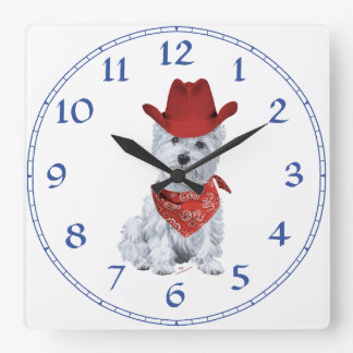 Westie Cowboy in Red Square Wallclock