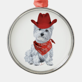 Westie Cowboy in Red Christmas Tree Ornaments