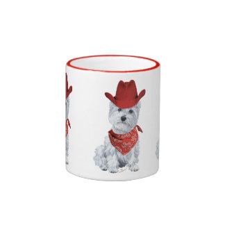 Westie Cowboy in Red Ringer Mug