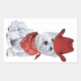 Westie Cowboy in Red Rectangular Sticker