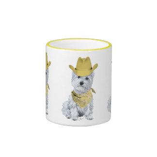 Westie Cowboy in Yellow Coffee Mug