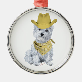 Westie Cowboy in Yellow Christmas Tree Ornaments