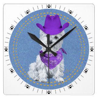 Westie Cowboy on Denim Wallclock