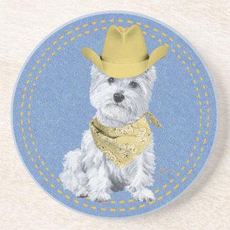 Westie Cowboy on Denim Beverage Coasters