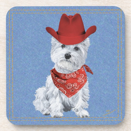 Westie Cowboy on Denim Coaster