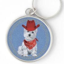 Westie Cowboy on Denim Keychain
