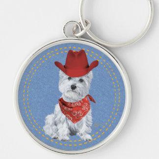 Westie Cowboy on Denim Silver-Colored Round Keychain