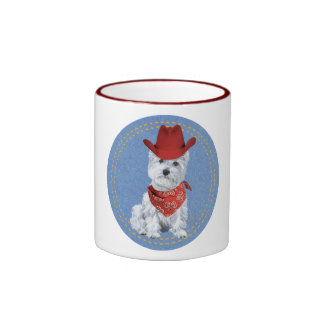 Westie Cowboy on Denim Coffee Mugs