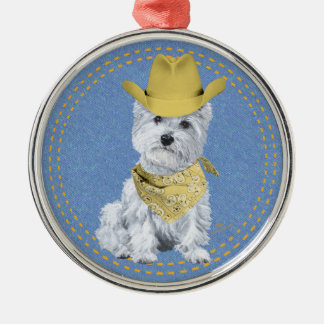 Westie Cowboy on Denim Christmas Tree Ornaments