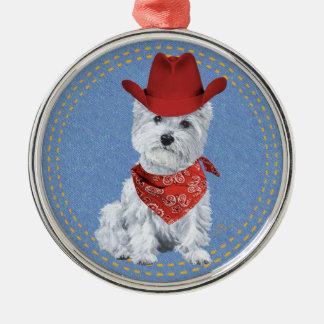 Westie Cowboy on Denim Christmas Ornament