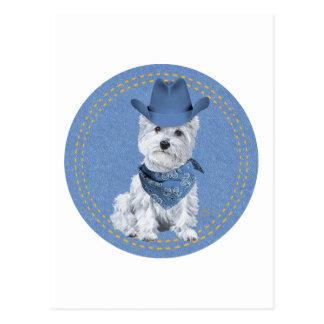 Westie Cowboy on Denim Post Cards