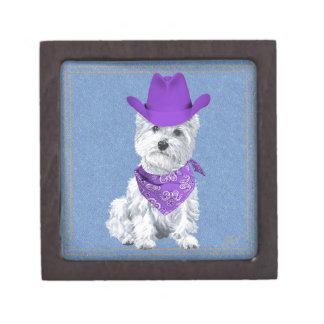 Westie Cowboy on Denim Premium Keepsake Boxes