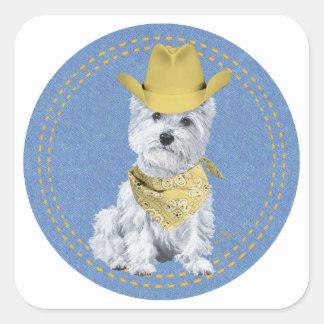 Westie Cowboy on Denim Square Sticker
