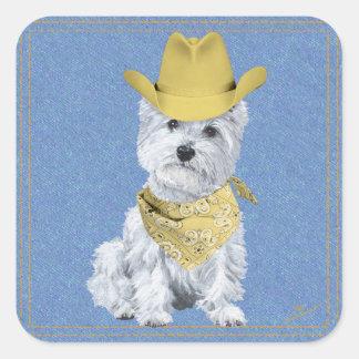Westie Cowboy on Denim Stickers