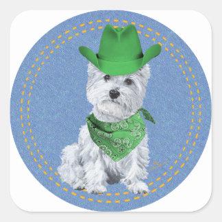 Westie Cowboy on Denim Sticker