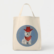 Westie Cowboy on Denim Tote Bag