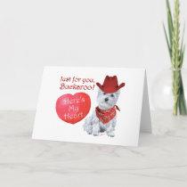 Westie Cowboy Valentine Holiday Card